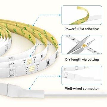 LED Strip Lichterkette, Govee 5m RGB Farbänderung LED Streifen Lichtband Selbstklebend mit Fernbedienung und Controller für Zuhause, Schlafzimmer, TV, Schrankdeko, Hell 5050 LED Band, Schnittbar - 6