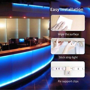 LED Strip Lichterkette, Govee 5m RGB Farbänderung LED Streifen Lichtband Selbstklebend mit Fernbedienung und Controller für Zuhause, Schlafzimmer, TV, Schrankdeko, Hell 5050 LED Band, Schnittbar - 9