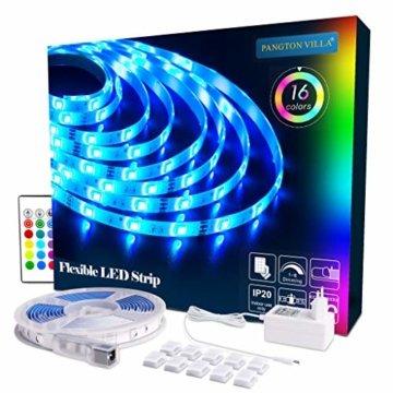 LED Strip RGB 5m LED Licht Streifen SMD 5050 Leds mit Netzteil, Fernbedienung Led stripes Lichtband Leiste Band Beleuchtung,MEHRWEG - 1