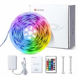 LED Strip RGB 5m, TECKIN 5050 RGB LED Streifen Lichtband Selbstklebend mit Fernbedienung und Netzteil LED lichterkette für die Innenbeleuchtung Küchenbett Flexible Beleuchtungsstreifen von Bar - 1