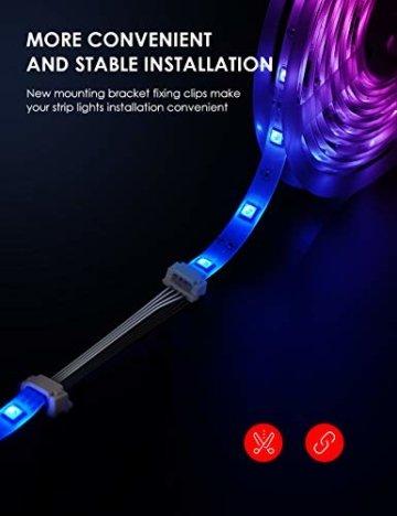 LED Strip RGB 5m, TECKIN 5050 RGB LED Streifen Lichtband Selbstklebend mit Fernbedienung und Netzteil LED lichterkette für die Innenbeleuchtung Küchenbett Flexible Beleuchtungsstreifen von Bar - 4