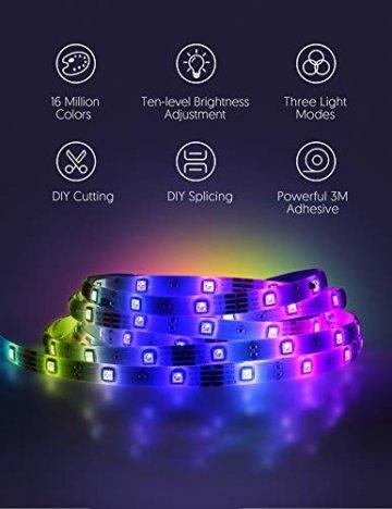 LED Strip RGB 5m, TECKIN 5050 RGB LED Streifen Lichtband Selbstklebend mit Fernbedienung und Netzteil LED lichterkette für die Innenbeleuchtung Küchenbett Flexible Beleuchtungsstreifen von Bar - 5