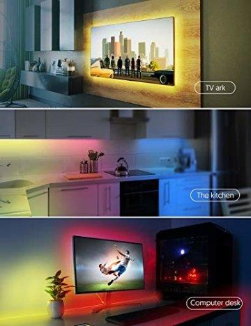 LED Strip RGB 5m, TECKIN 5050 RGB LED Streifen Lichtband Selbstklebend mit Fernbedienung und Netzteil LED lichterkette für die Innenbeleuchtung Küchenbett Flexible Beleuchtungsstreifen von Bar - 6