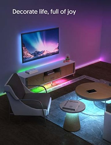 LED Strip RGB 5m, TECKIN 5050 RGB LED Streifen Lichtband Selbstklebend mit Fernbedienung und Netzteil LED lichterkette für die Innenbeleuchtung Küchenbett Flexible Beleuchtungsstreifen von Bar - 7