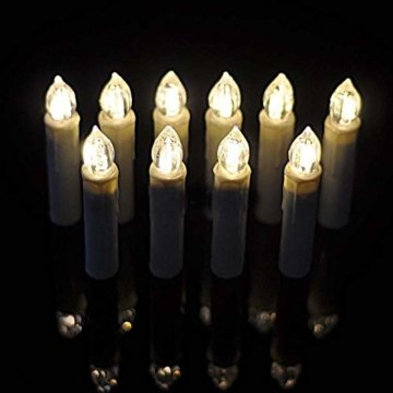 LED Weihnachtskerzen 10er Kabellos Kerzen, LED Christbaumkerzen mit Timer, Beige, Warmweiß, Flammenlose - 2