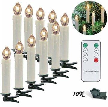 LED Weihnachtskerzen 10er Kabellos Kerzen, LED Christbaumkerzen mit Timer, Beige, Warmweiß, Flammenlose - 1
