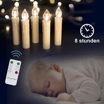LED Weihnachtskerzen 10er Kabellos Kerzen, LED Christbaumkerzen mit Timer, Beige, Warmweiß, Flammenlose - 7