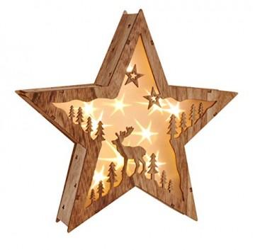"""LED Weihnachtsstern Beleuchtung Fensterbeleuchtung """"STERN"""" schöner Holzstern mit 10 warmweißen LEDs - 1"""