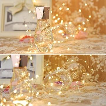 LEDGLE 10er Stück LED Lichterkette Batterie Kupfer Drahtlichterkette Warmweiß 1.2M&24LEDs Lichterketten Weihnachten Batteriebetrieben wasserdichte Lichter Flasche Dekoration - 2