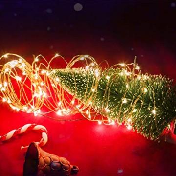 LEDGLE 10er Stück LED Lichterkette Batterie Kupfer Drahtlichterkette Warmweiß 1.2M&24LEDs Lichterketten Weihnachten Batteriebetrieben wasserdichte Lichter Flasche Dekoration - 3