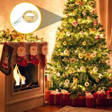 LEDGLE 10er Stück LED Lichterkette Batterie Kupfer Drahtlichterkette Warmweiß 1.2M&24LEDs Lichterketten Weihnachten Batteriebetrieben wasserdichte Lichter Flasche Dekoration - 7