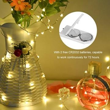 LEDGLE 10er Stück LED Lichterkette Batterie Kupfer Drahtlichterkette Warmweiß 1.2M&24LEDs Lichterketten Weihnachten Batteriebetrieben wasserdichte Lichter Flasche Dekoration - 8