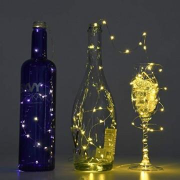 LEDGLE 10er Stück LED Lichterkette Batterie Kupfer Drahtlichterkette Warmweiß 1.2M&24LEDs Lichterketten Weihnachten Batteriebetrieben wasserdichte Lichter Flasche Dekoration - 9
