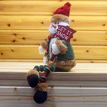 libelyef Weihnachtspuppe Sitzregal Ornamente, Plüsch Schneemann Puppe, Lange Beine Tisch Kamin Dekor Wohnkultur Weihnachtsfiguren Plüsch Für Kinder Kinder - 3