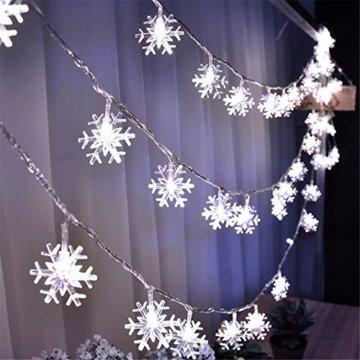 Lichterkette 1,5 M 10 LED Schneeflocke Lichter String Weihnachtsbeleuchtung Schneeflocken Lichternetz Schnur Beleuchtet Partei Hochzeits Lichterketten Weihnachten Party AußEn Innen - 6