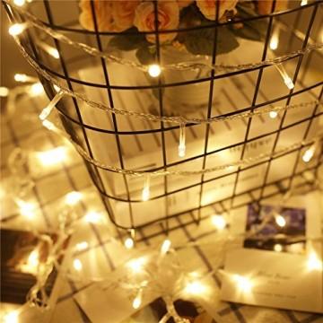 Lichterkette 200 Leds 22 Meter mit EU-Stecker von DC 31V Niederspannungstransformator und 8 Programm für Party, Halloween, Hochzeit, Beleuchtung Deko warmweiß von Uping [Energieklasse A+++] - 5