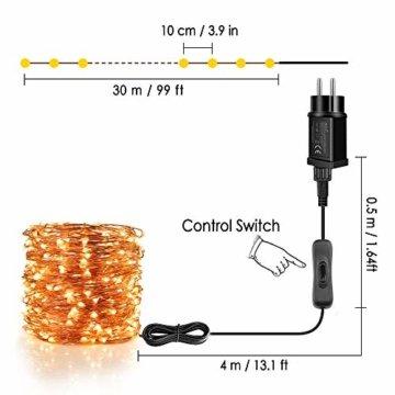Lichterkette Moobibear 30M 300 LEDKupferdraht LichterketteInnen und Außen Wasserdicht Drahtlichterketten für Weihnachten Garten Terrasse Dekoration - Warmweiß - 3