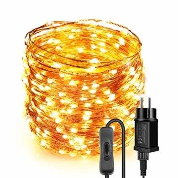 Lichterkette Moobibear 30M 300 LEDKupferdraht LichterketteInnen und Außen Wasserdicht Drahtlichterketten für Weihnachten Garten Terrasse Dekoration - Warmweiß - 1