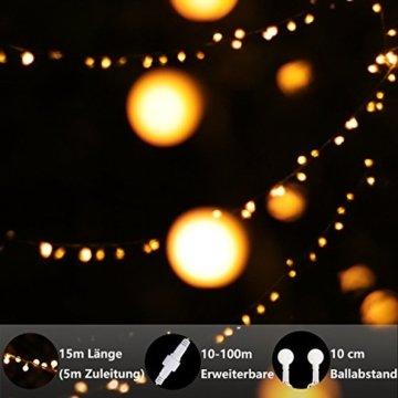 Lichterkette, von myCozyLite, LED Lichterkette mit timer, EU Stecker, 15m, 100er, Globe, Warmweiß, Weihnachtsbaum Deko, für Innen und Außen, erweiterbar, mit 31V DC Niederspannungs-Transformator - 3