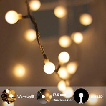 Lichterkette, von myCozyLite, LED Lichterkette mit timer, EU Stecker, 15m, 100er, Globe, Warmweiß, Weihnachtsbaum Deko, für Innen und Außen, erweiterbar, mit 31V DC Niederspannungs-Transformator - 5