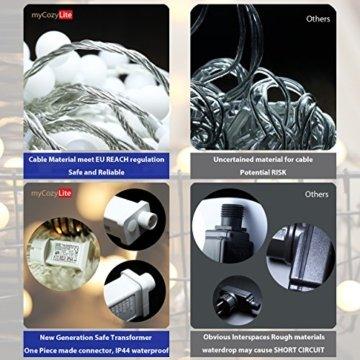 Lichterkette, von myCozyLite, LED Lichterkette mit timer, EU Stecker, 15m, 100er, Globe, Warmweiß, Weihnachtsbaum Deko, für Innen und Außen, erweiterbar, mit 31V DC Niederspannungs-Transformator - 6