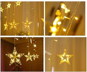 Lichtervorhang Sterne, Lichterkette Sterne mit Led Kugel 12 Sterne,3m Wasserdicht Strangleitungen Innen & Außenlichterkette für weihnachtsdeko, Hochzeit, Party, Fenster, Garten Warmweiß - 3
