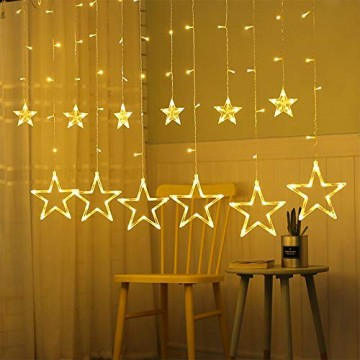 Lichtervorhang Sterne, Lichterkette Sterne mit Led Kugel 12 Sterne,3m Wasserdicht Strangleitungen Innen & Außenlichterkette für weihnachtsdeko, Hochzeit, Party, Fenster, Garten Warmweiß - 1