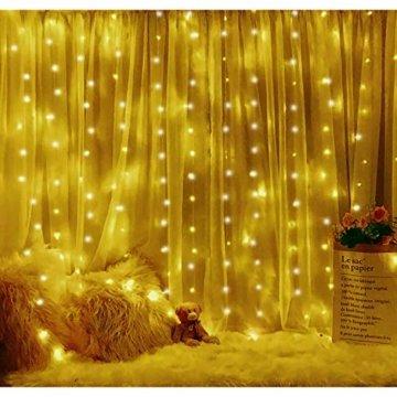 Lichtervorhang Vorhanglichter, Sunnest 300 LED USB Lichterkette Lichterkettenvorhang String Light Kupferlichterkette 8 Lichtmodi mit Fernbedienung Timer für Zimmer Innen und Außen Deko IP68 Warmweiß - 2