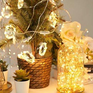Lichtervorhang Vorhanglichter, Sunnest 300 LED USB Lichterkette Lichterkettenvorhang String Light Kupferlichterkette 8 Lichtmodi mit Fernbedienung Timer für Zimmer Innen und Außen Deko IP68 Warmweiß - 4