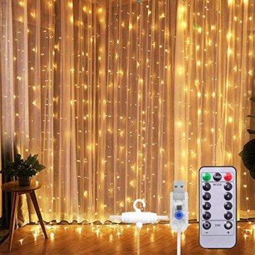 Lichtervorhang Vorhanglichter, Sunnest 300 LED USB Lichterkette Lichterkettenvorhang String Light Kupferlichterkette 8 Lichtmodi mit Fernbedienung Timer für Zimmer Innen und Außen Deko IP68 Warmweiß - 1