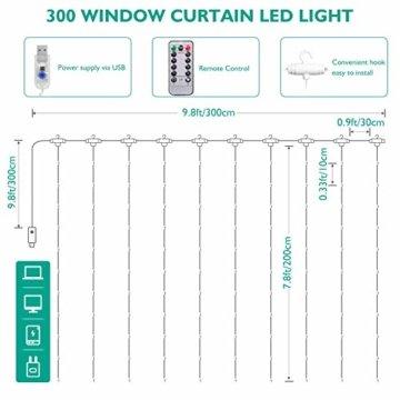 Lichtervorhang Vorhanglichter, Sunnest 300 LED USB Lichterkette Lichterkettenvorhang String Light Kupferlichterkette 8 Lichtmodi mit Fernbedienung Timer für Zimmer Innen und Außen Deko IP68 Warmweiß - 5