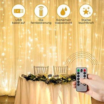 Lichtervorhang Vorhanglichter, Sunnest 300 LED USB Lichterkette Lichterkettenvorhang String Light Kupferlichterkette 8 Lichtmodi mit Fernbedienung Timer für Zimmer Innen und Außen Deko IP68 Warmweiß - 7