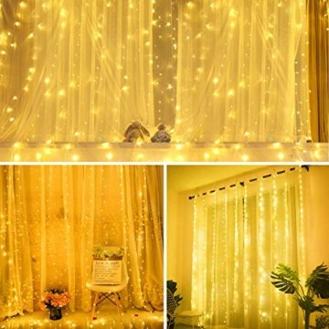 Lichtervorhang Vorhanglichter, Sunnest 300 LED USB Lichterkette Lichterkettenvorhang String Light Kupferlichterkette 8 Lichtmodi mit Fernbedienung Timer für Zimmer Innen und Außen Deko IP68 Warmweiß - 8