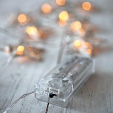 Lights4fun 10er LED Lichterkette Stern Silber batteriebetrieben - 3