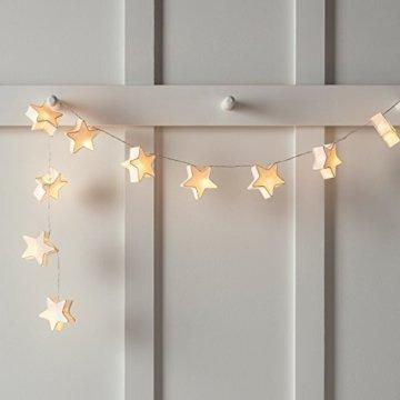 Lights4fun 10er LED Papier Sternen Lichterkette warmweiß batteriebetrieben Innen - 3
