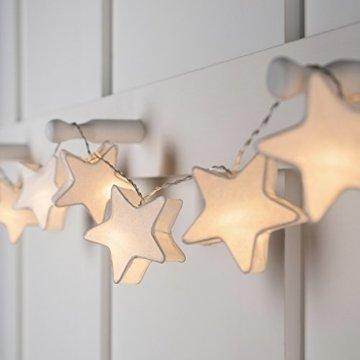 Lights4fun 10er LED Papier Sternen Lichterkette warmweiß batteriebetrieben Innen - 4