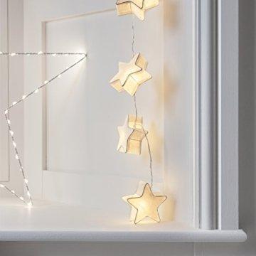 Lights4fun 10er LED Papier Sternen Lichterkette warmweiß batteriebetrieben Innen - 6