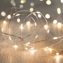 Lights4fun 20er LED Draht Micro Lichterkette perlweiß Batteriebetrieb - 1