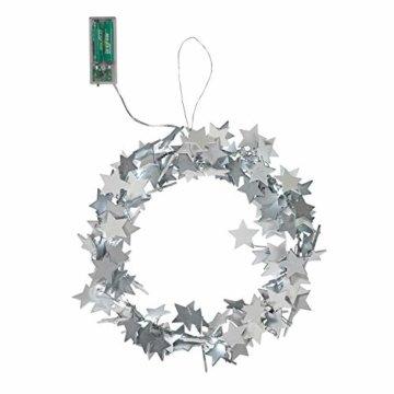 Lights4fun 30cm Sternen Weihnachtskranz mit 20er LED Micro Lichterkette weiß Timer - 2