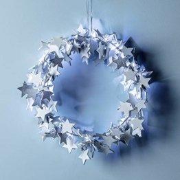 Lights4fun 30cm Sternen Weihnachtskranz mit 20er LED Micro Lichterkette weiß Timer - 1