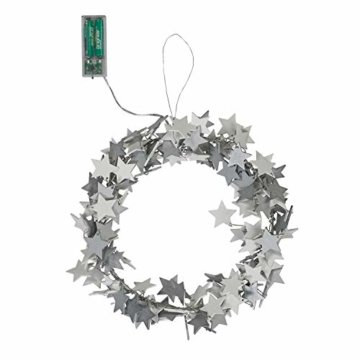 Lights4fun 30cm Sternen Weihnachtskranz mit 20er LED Micro Lichterkette weiß Timer - 4