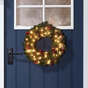 Lights4fun 35er LED Weihnachtskranz mit Beeren 40cm Timer warmweiß Außen - 1