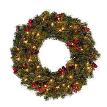 Lights4fun 35er LED Weihnachtskranz mit Beeren 40cm Timer warmweiß Außen - 2