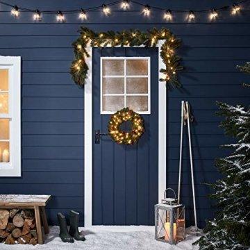 Lights4fun 35er LED Weihnachtskranz mit Beeren 40cm Timer warmweiß Außen - 3