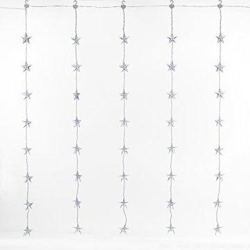 Lights4fun 40er LED Sternen Lichtervorhang perlweiß transparentes Kabel - 3
