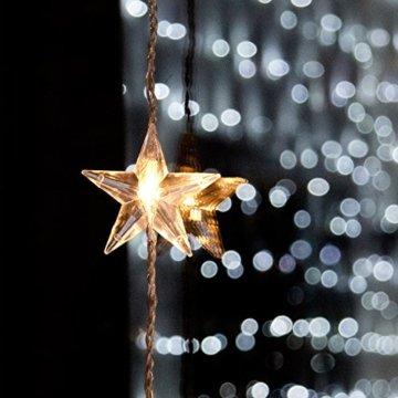 Lights4fun 40er LED Sternen Lichtervorhang perlweiß transparentes Kabel - 4