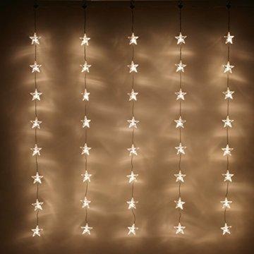 Lights4fun 40er LED Sternen Lichtervorhang perlweiß transparentes Kabel - 5