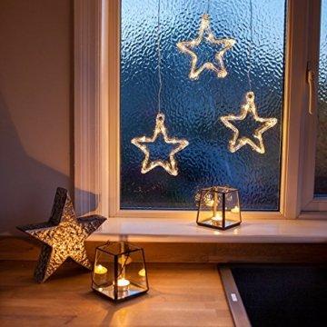 Lights4fun LED Stern Fensterdeko Weihnachtsdeko Timer Batteriebetrieb - 3