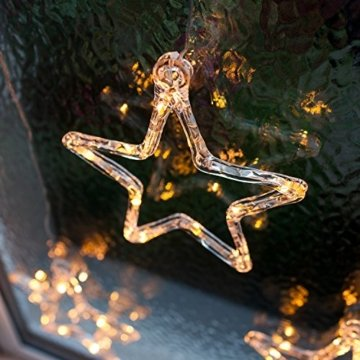 Lights4fun LED Stern Fensterdeko Weihnachtsdeko Timer Batteriebetrieb - 4