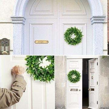 LinTimesTürkranz Wandkranz, Girlande Künstlich Pflanze mit Blumen und grünen Blättern für HochzeitenZuhause, Parties, Türen Und Feste - Grün - 3